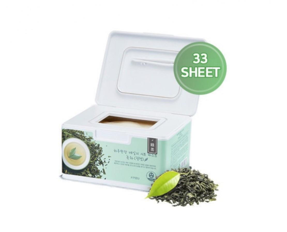 A'pieu Daily Sheet Mask (Green tea) - kaukių dėžutė (33vnt.)