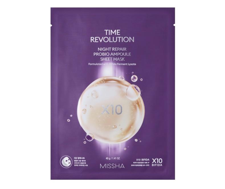 Missha Time Revolution Night Repair Probio Ampoule Sheet Mask - kaukė